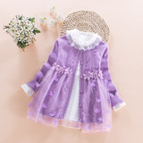 Girl sweater cardigan new spring and autumn mid-long jacket children's long-sleeved Princess knitted skirt two-piece suit
