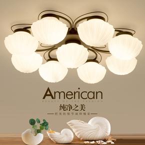 客厅灯简约现代大气美式吸顶灯卧室吊灯饰铁艺术欧式吊灯餐厅灯具
