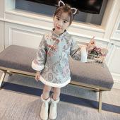 洋气宝宝裙子6连衣裙7岁 3女童冬装 加厚旗袍公主裙2018新4儿童唐装图片