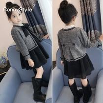 女童呢子大衣冬装2018新款中大童韩版童装儿童呢子外套女两件套裙