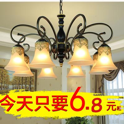 欧式灯创意卧室吊灯美式简约铁艺吊灯客厅灯田园艺术复古餐厅灯具