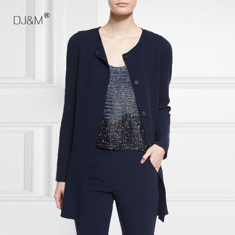 2019春季新款进口罗马棉弹力针织棉职业圆领修身加厚短风衣套装女