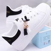 春季12女孩13初中学生大童软底透气波鞋 休闲皮面跑步运动板鞋 15岁