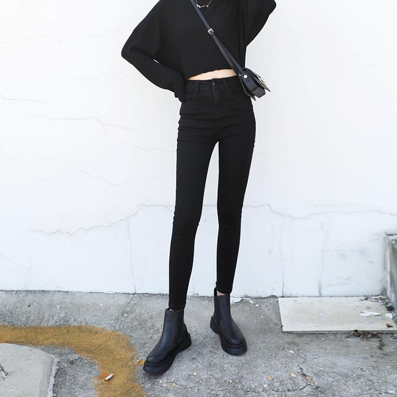入店必败CHIC VEN自制复古高腰小脚牛仔裤修身显瘦九分铅笔裤子女