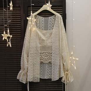 春夏新款女装日系软妹蕾丝宽松灯笼袖长袖中长款防晒衫薄款雪纺衫