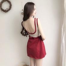 两件套女 花苞高腰半身裙时尚 chic风无袖 套装 露背螺纹T恤 夏季韩版