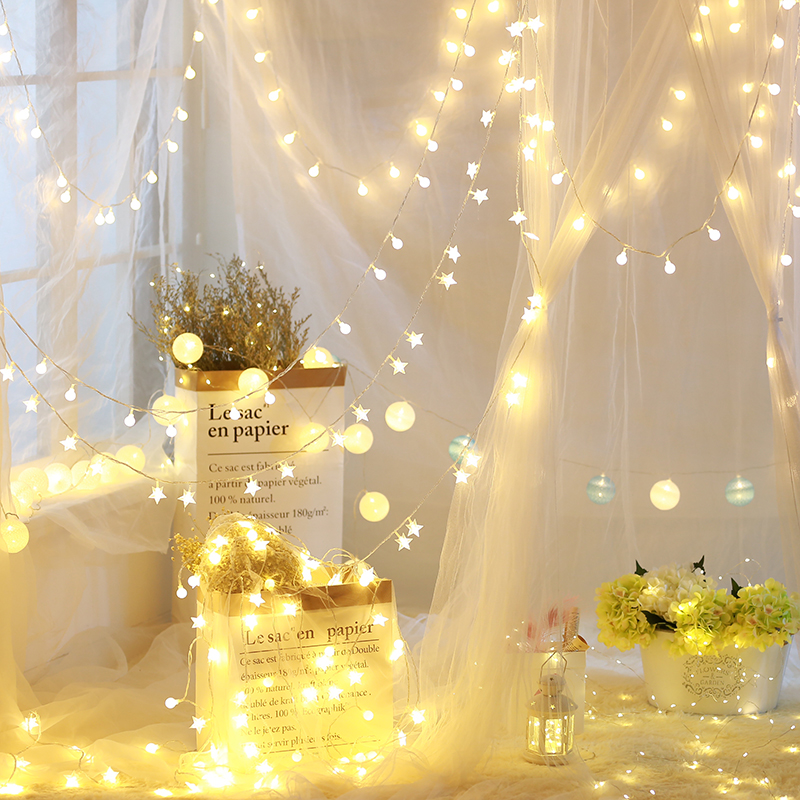 LED星星灯彩灯闪灯串灯满天星少女心房间卧室浪漫宿舍装饰网红灯