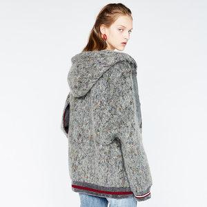 DAZZLE地素 欧美流行冬季新款连帽赫本羊毛呢外套大衣女2A4G2321F