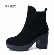 Fall and Winter 2019 European and American Leather Tight Shoes Waterproof Platform Thick Bottom High heel Chelsea Boots Grinded Coarse heeled Women's Boots