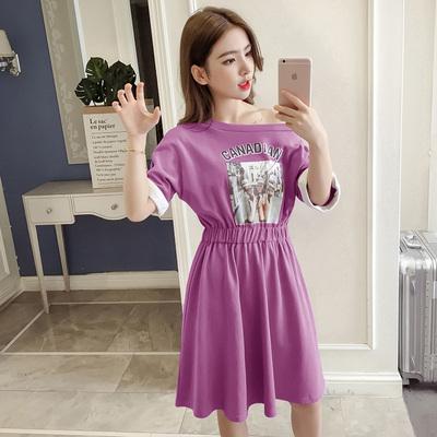 2018新款韩版字母蝙蝠袖收腰紫色连衣裙女高腰松紧腰连身裙女夏