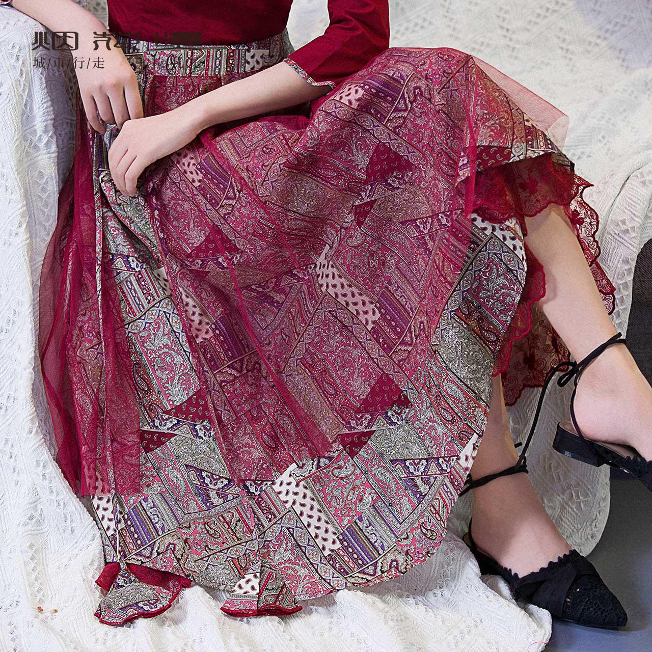 烟花烫XW秋装女2018新款半身裙蕾丝印花气质大摆中长款a字裙 离淑