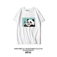 可爱卡通熊猫白色短袖T恤女宽松韩版ulzzang原宿BF风百搭夏季半袖
