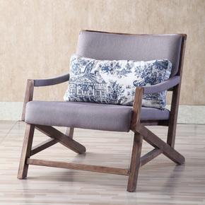北欧实木单人沙发椅简约现代设计师休闲洽谈咖啡椅西餐厅桌椅组合