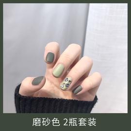 磨砂指甲油女持久套装不可剥不掉色哑光雾面脚趾夏天绿色系抹茶绿图片