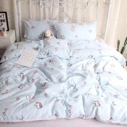 少女流苏卡通独角兽双层纱布四件套全棉纯棉被套床单婴儿床上用品