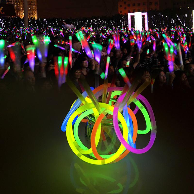 荧光棒演唱会聚会晚会活动年会一次性五彩发光银光棒夜光棒100支