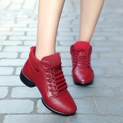 秋冬新款真皮广场舞蹈鞋女现代舞鞋软底透气跳舞鞋红色舞鞋健身鞋
