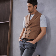 Dull original Pitti uomo elegant ruffian double-row buckle gun refutes the body-dressing waistcoat male tide and leisure horse clip