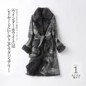 新款羊毛内胆派克服皮草外套女黑白格粗纺羊毛呢大衣中长款加厚