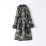 New wool liner to overcome fur coat female black and white grid woollen wool coat in the long section thickening