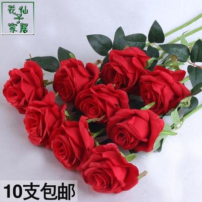 婚庆装饰玫瑰花束仿真高档单支绢布塑料假花大红餐桌摆件插花道具