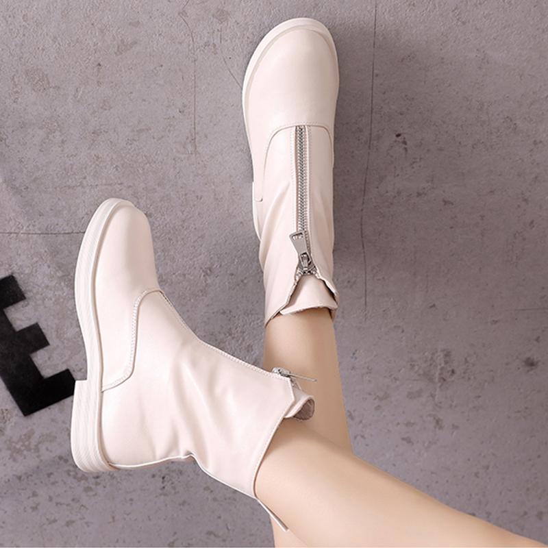 马丁靴女2019夏内增高女靴guidi瘦瘦靴英伦风平底白色前拉链短靴