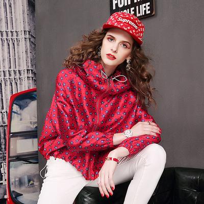 欧洲站2018秋季新款时尚连帽短外套女潮牌百搭宽松长袖夹克女薄款