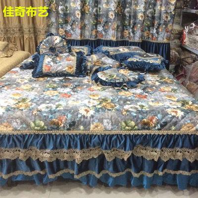 佳奇卉园思金豆豆圣安娜高档欧式奢华蕾丝床盖床罩床笠床裙三件套