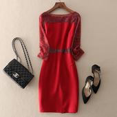 端庄大气重工钉珠网纱刺绣修身包臀职场女装气质ol正式场合连衣裙