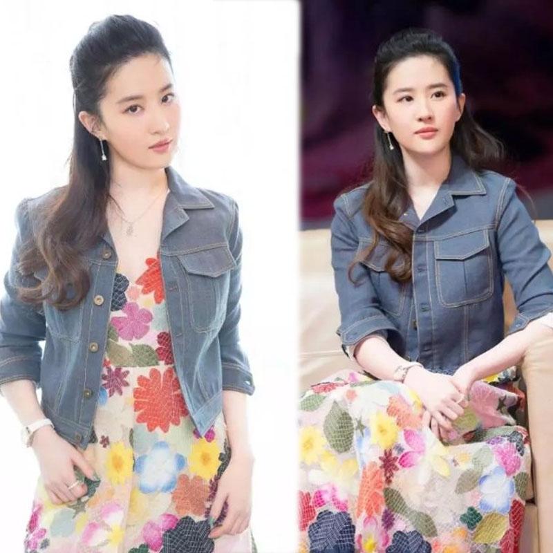 刘亦菲同款牛仔衣