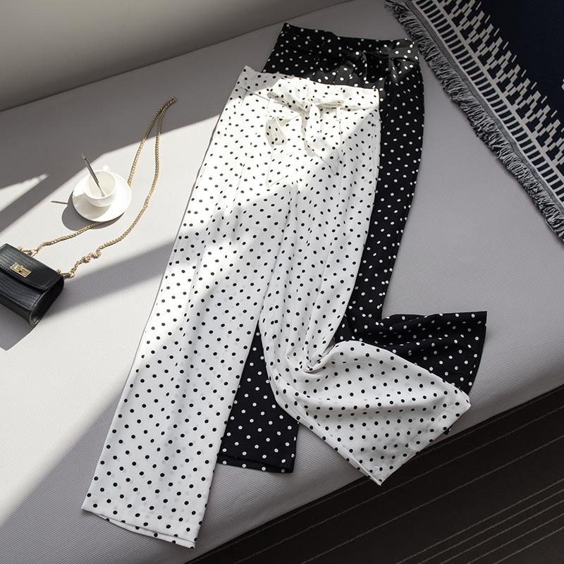 黑白波点九分裤