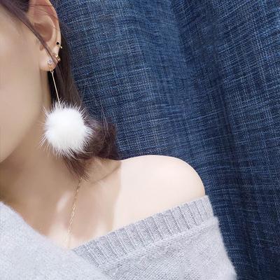 网红同款超仙毛绒水貂毛毛球耳环韩国女气质长款耳钉吊坠耳坠潮人
