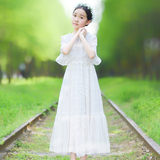 Zhongda girl foreign style white three-dimensional lace long dress girl primary school short-sleeved summer temperament princess dress