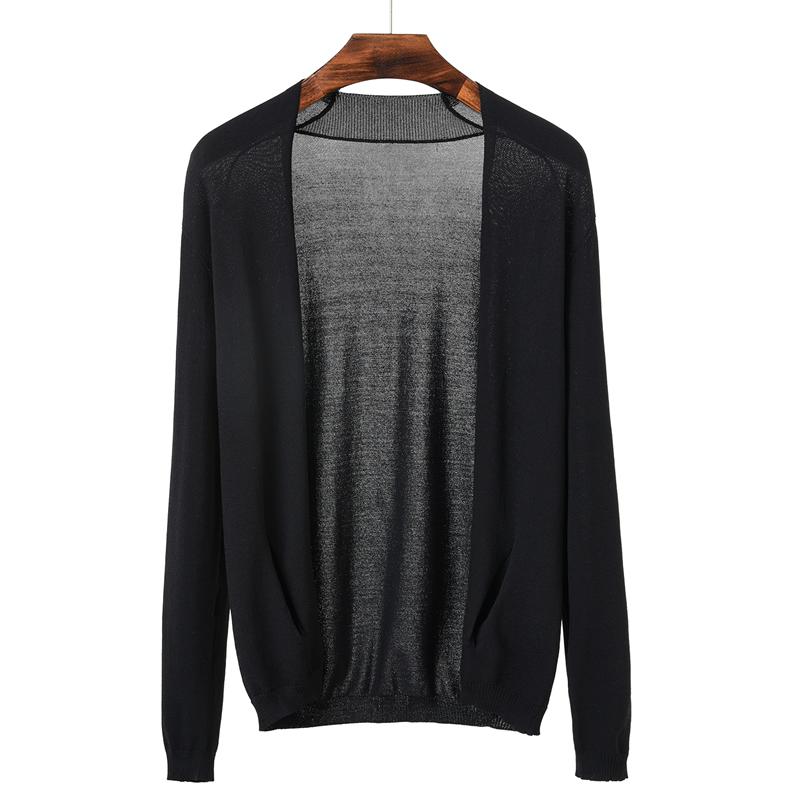 2018秋季新款男士夏装空调衫薄款针织毛衣薄开衫外套防晒衣冰丝