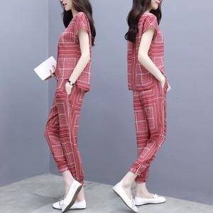 港风2018夏季新款女装7分裤大码两件套时尚休闲雪纺小脚裤套装女