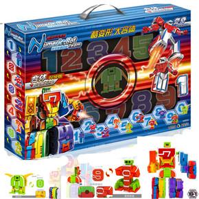 顺嘉数字变形战队字母变形玩具合体益智机器人拼装儿童玩具