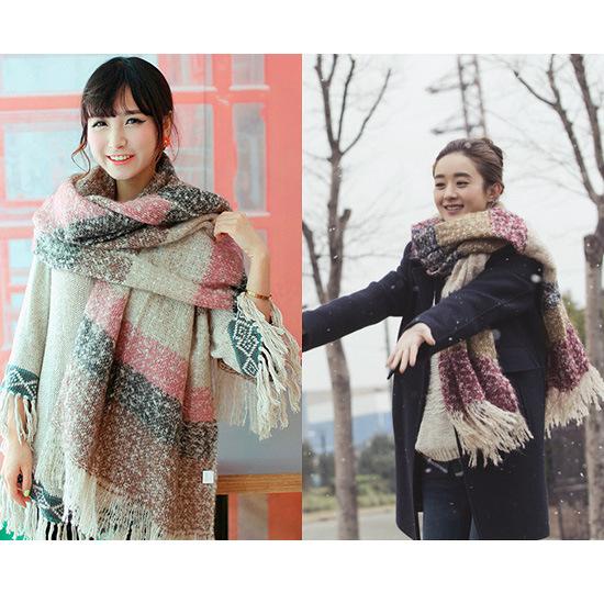 两用围巾针织彩色加厚拼色保暖围脖学生披肩女士 时尚 杉杉来了同款