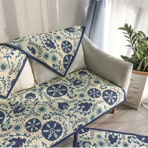 欧美式绗缝爱克托沙发垫布艺全棉沙发巾飘窗垫防滑坐垫四季通用垫