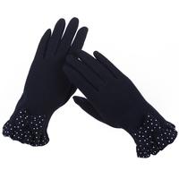 韩版手套女冬可爱蝴蝶结加绒御寒骑车手套保暖开车分指可触屏手套