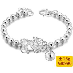 990纯银光珠手链 足银貔貅转运珠手串 招财进宝纯银手链 民族风
