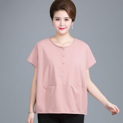 中老年女装夏装短袖加肥加大码30-40-50岁胖妈妈纯棉t恤200斤上衣