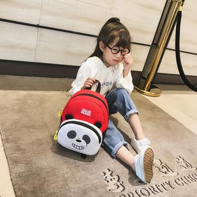 防走失儿童背包新款卡通可爱熊猫萌趣双肩包幼儿园男女宝宝书包潮