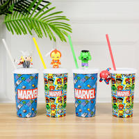 Marvel Genuine Avengers 4 Sippy Cup Multifunction Doll Cup Iron Man Light Sippy Cup Spider Man Water Cup Green Giant Hand Slot Sippy Cup Ray God Fridge Stick Coke Cup