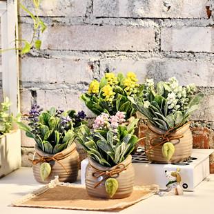 zakka日式清新陶瓷盆栽树叶装饰仿真多肉假花盆栽摆设拍摄道具