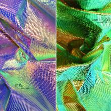 镭射幻彩褶皱鳄鱼纹软包皮革沙发皮子仿皮料厚硬包人造革pu皮布料图片