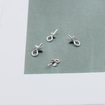 s925纯银带托盘珍珠吊坠扣手工diy饰品配件耳坠耳钉材料耳线配饰