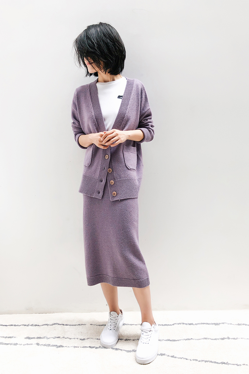 Warm office Merino wool classic casual knit suit
