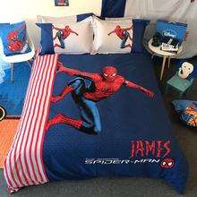 男孩卡通儿童蜘蛛侠纯棉四件套全棉被套床单床上用品学生三件套
