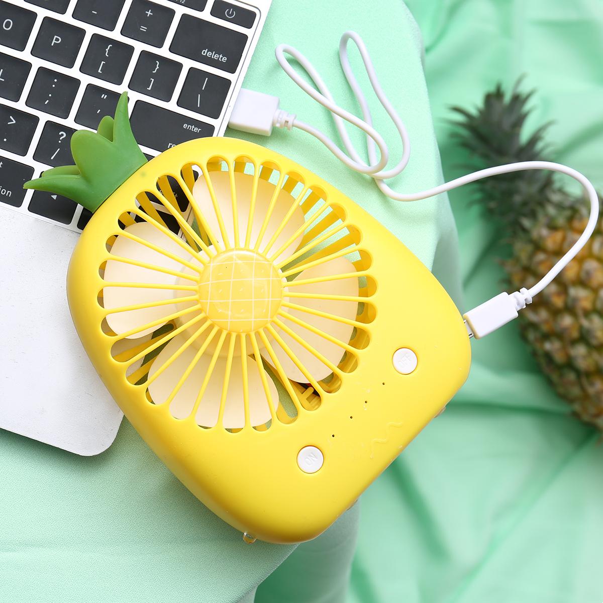 凤梨卡通可爱小电风扇迷你可充电宿舍usb手拿便携式学生静音电扇