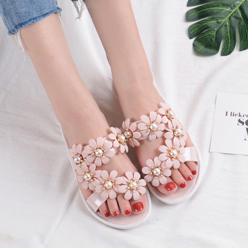 凉拖女外穿夏沙滩鞋时尚韩版拖鞋度假海边百搭花朵软底防滑鞋凉鞋